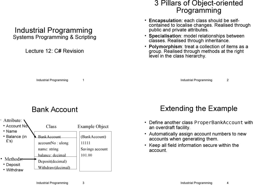 Realised through methods at the right level in the class hierarchy. Industrial Programming 1 Industrial Programming 2 Bank Account Extending the Example Attribute: Account No.