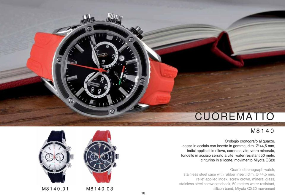 metri, cinturino in silicone, movimento Miyota OS20 Quartz chronograph watch, stainless steel case with rubber insert, dim.