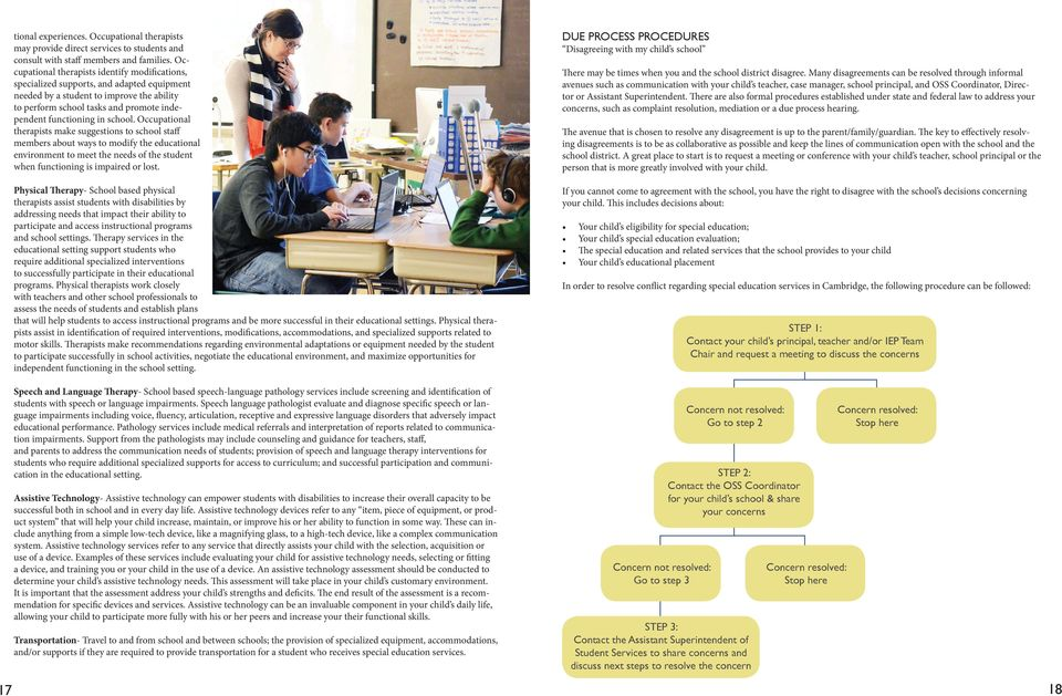 school. Occupational therapists make suggestions to school staff members about ways to modify the educational environment to meet the needs of the student when functioning is impaired or lost.