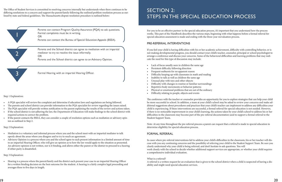 The Massachusetts dispute resolution procedure is outlined below: SECTION 2: STEPS IN THE SPECIAL EDUCATION PROCESS 1 2 Parents can contact Program Quality Assurance (PQA) to ask questions.