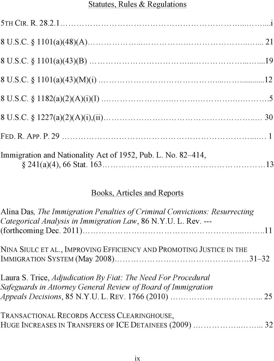 163 13 Books, Articles and Reports Alina Das, The Immigration Penalties of Criminal Convictions: Resurrecting Categorical Analysis in Immigration Law, 86 N.Y.U. L. Rev. --- (forthcoming Dec. 2011).