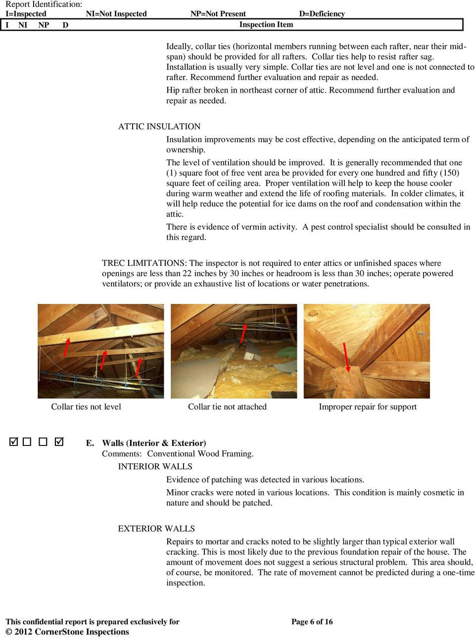 Recommend further evaluation and repair as needed. ATTIC INSULATION Insulation improvements may be cost effective, depending on the anticipated term of ownership.