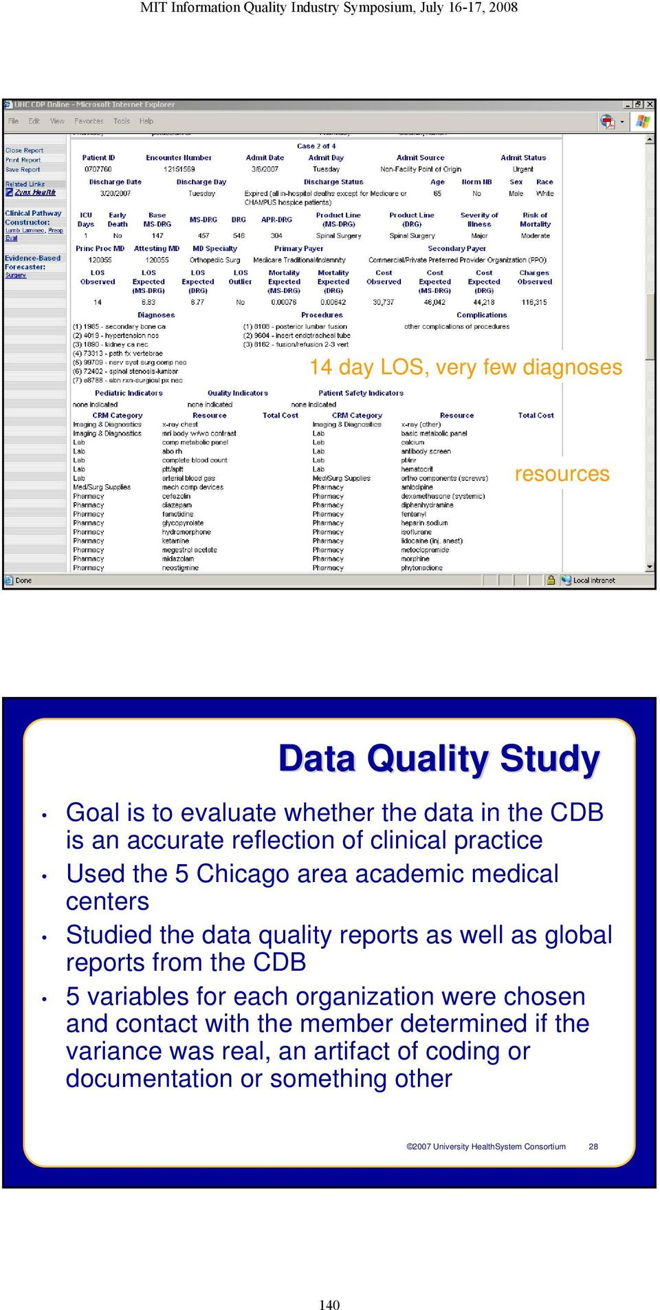quality reports as well as global reports from the CDB 5 variables for each organization were chosen and contact with the member