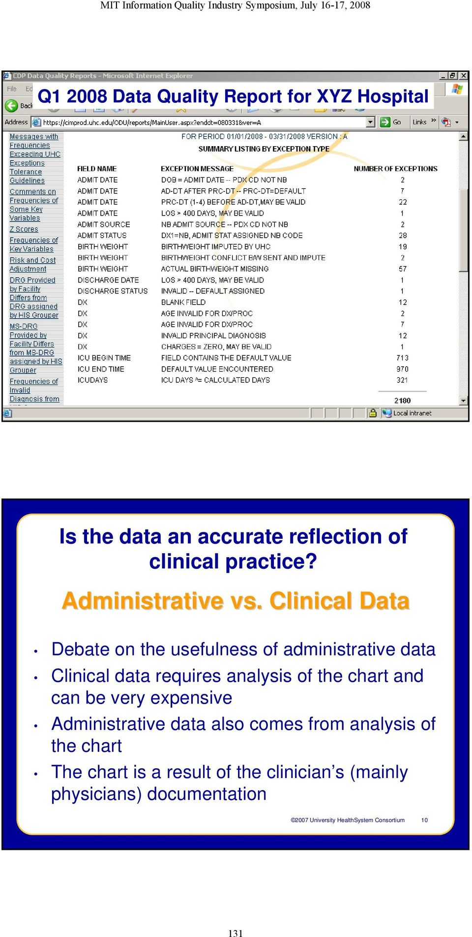 Clinical Data Debate on the usefulness of administrative data Clinical data requires analysis of the chart and can be