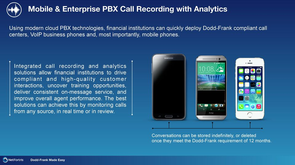 Integrated call recording and analytics solutions allow financial institutions to drive compliant and high-quality customer interactions, uncover training opportunities,
