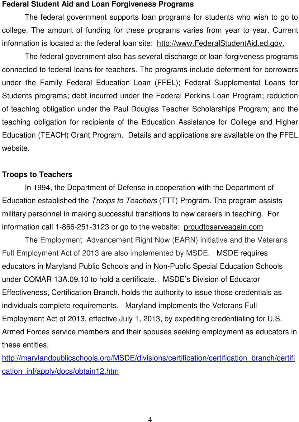 Teacher staffing report maryland state department of education the federal government also has several discharge or loan forgiveness programs connected to federal loans for 1betcityfo Image collections