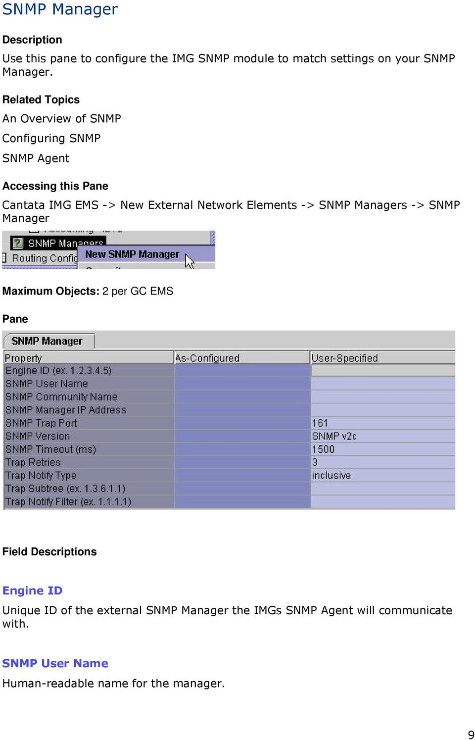 Network Elements -> SNMP Managers -> SNMP Manager Maximum Objects: 2 per GC EMS Pane Field Descriptions Engine ID