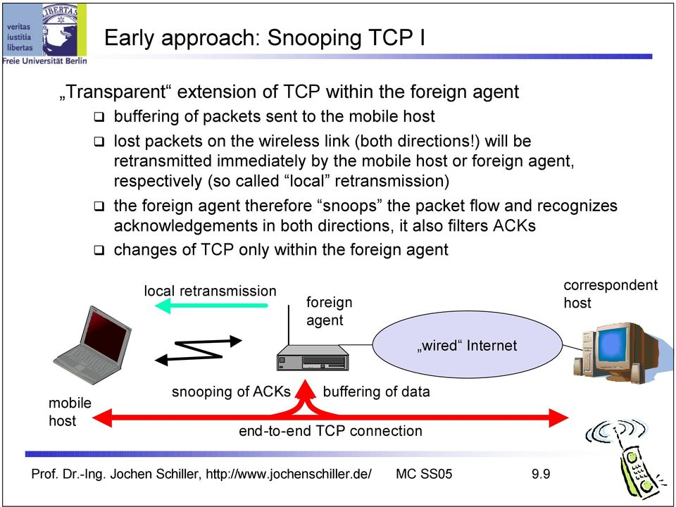 ) will be retransmitted immediately by the mobile host or foreign agent, respectively (so called local retransmission) the foreign agent therefore snoops the packet flow
