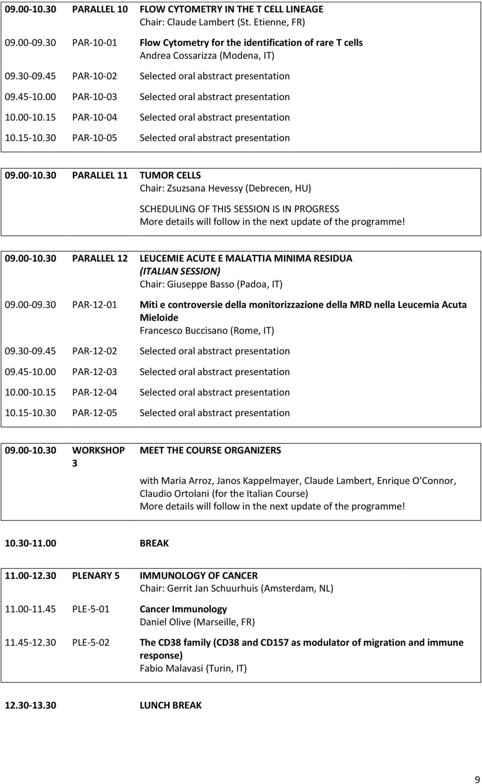 00 PAR-10-03 Selected oral abstract presentation 10.00-10.