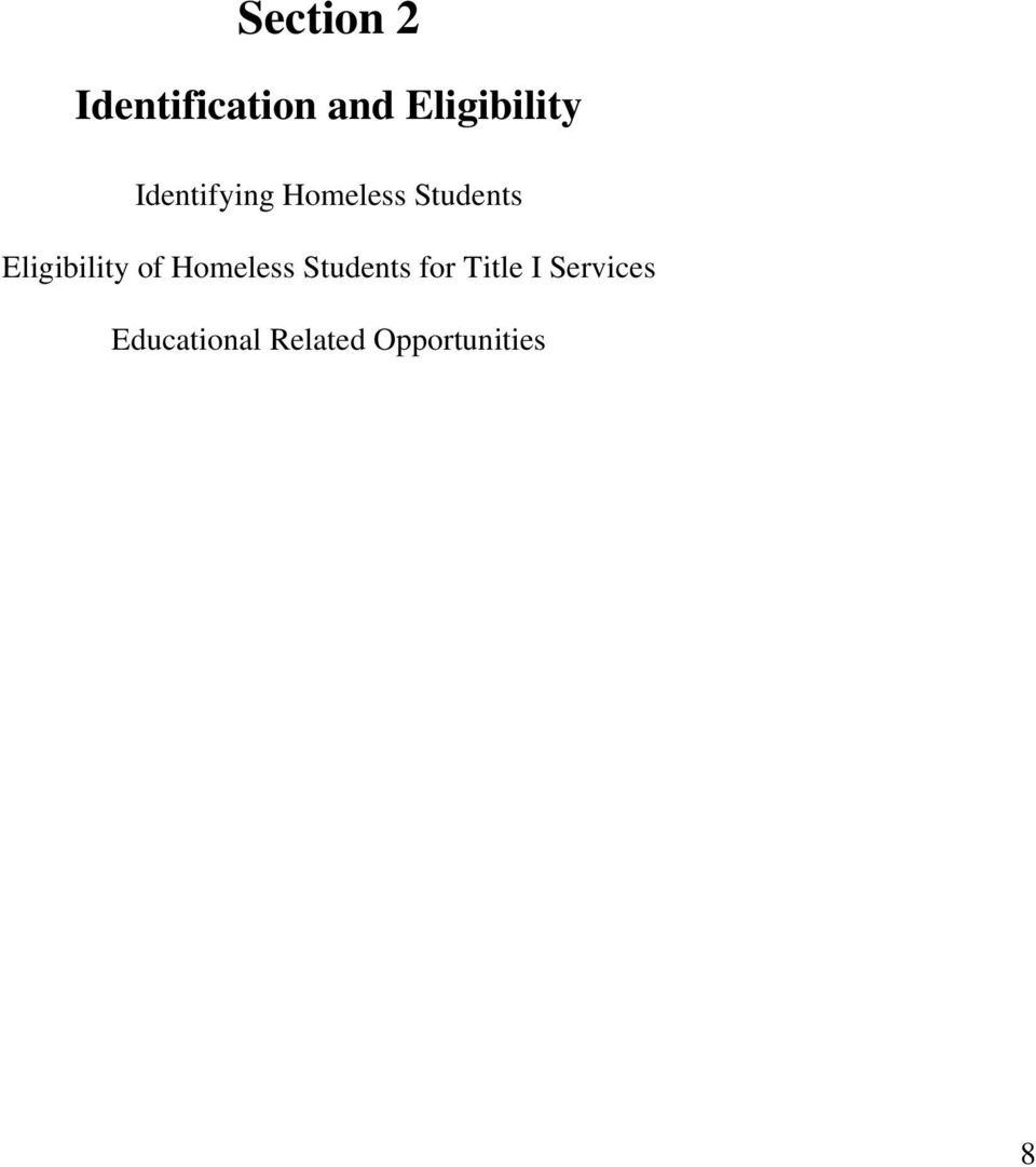 Students Eligibility of Homeless