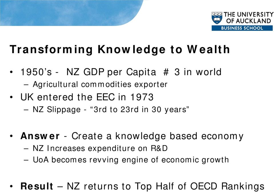 23rd in 30 years Answer - Create a knowledge based economy NZ Increases expenditure