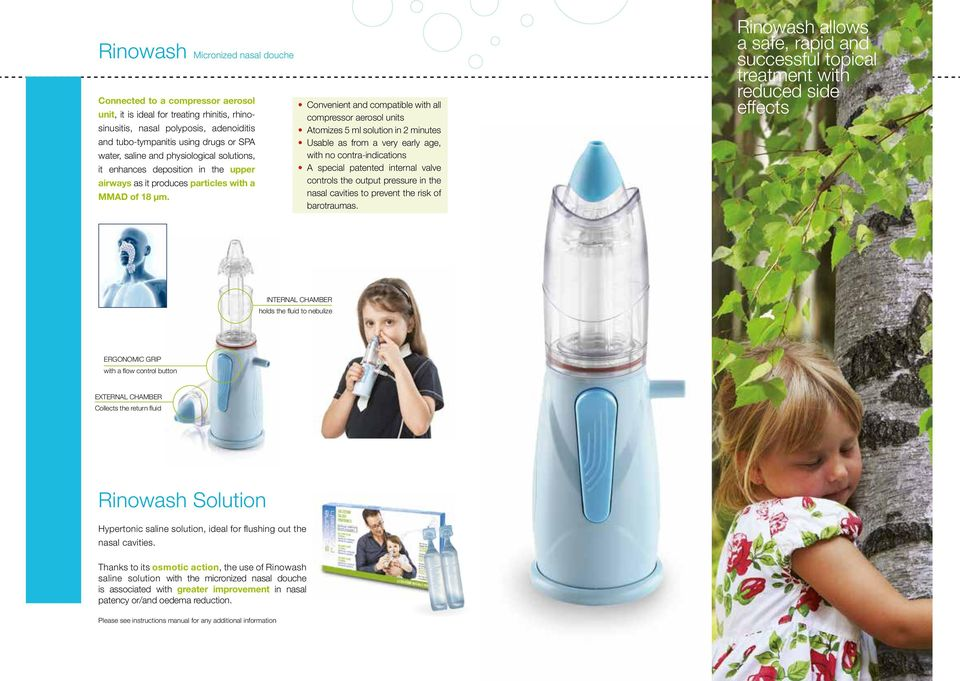 Convenient and compatible with all compressor aerosol units Atomizes 5 ml solution in 2 minutes Usable as from a very early age, with no contra-indications A special patented internal valve controls