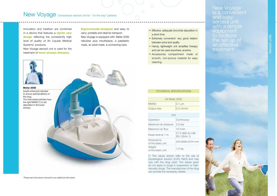 mask, an adult mask, a connecting tube. New Voyage aerosol unit is used for the treatment of lower airways diseases.