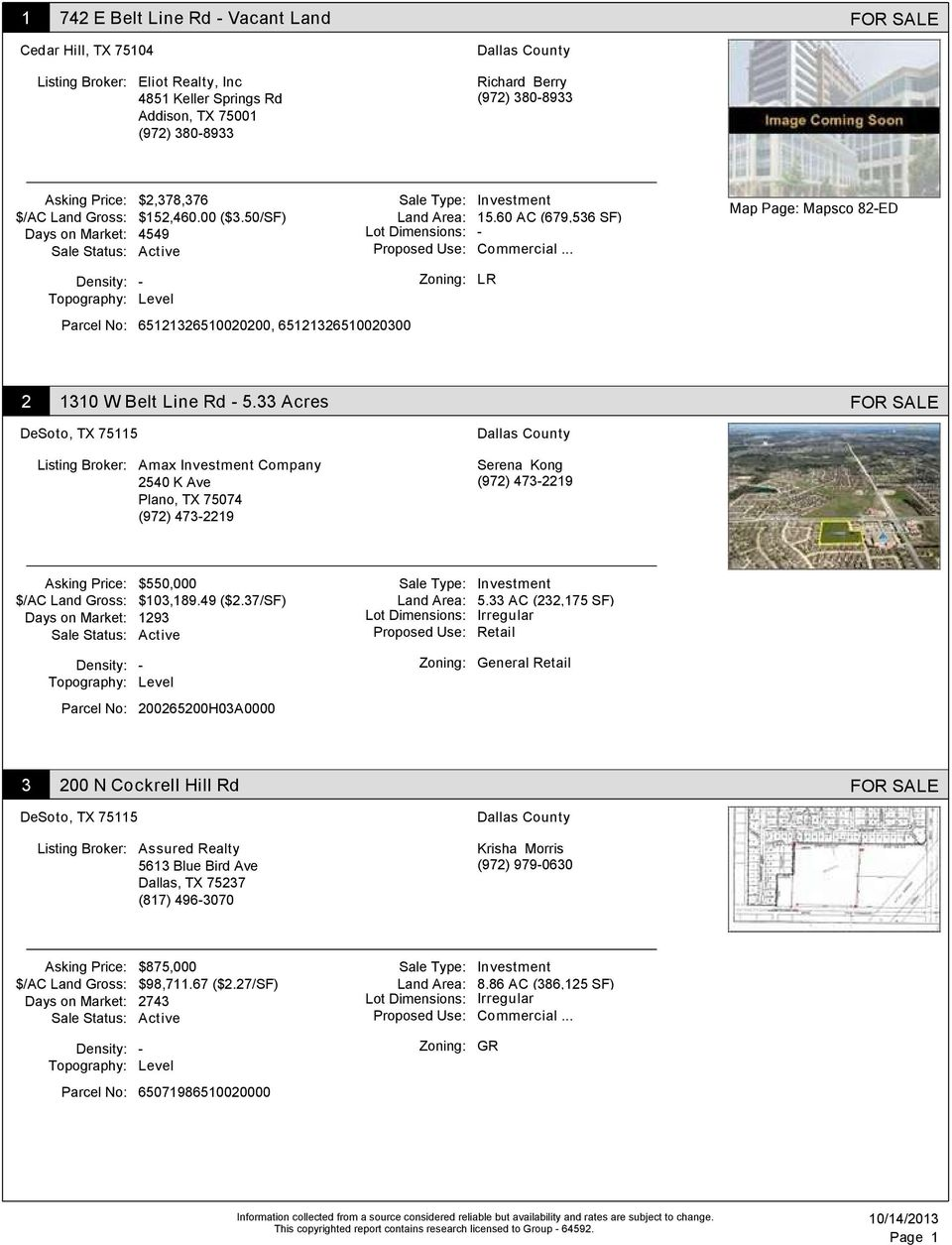 60 AC (679,536 SF) Days on Market: 4549 Lot Dimensions: Sale Status: Active Proposed Use: Commercial.