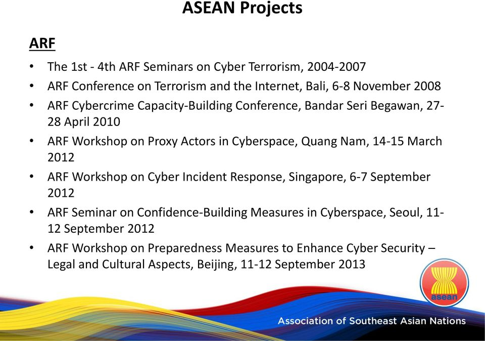 14-15 March 2012 ARF Workshop on Cyber Incident Response, Singapore, 6-7 September 2012 ARF Seminar on Confidence-Building Measures in