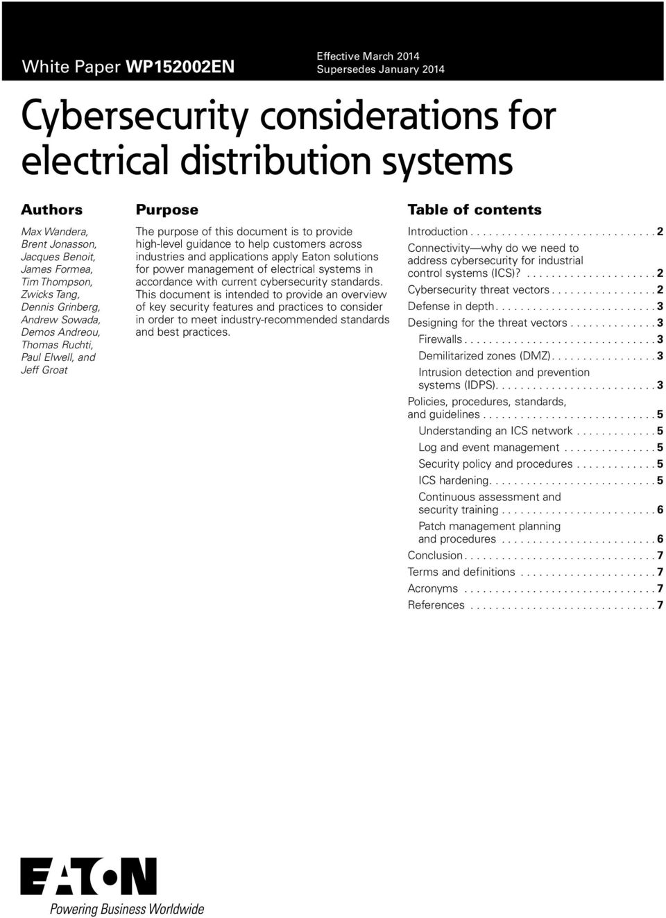 Eaton solutions for power management of electrical systems in accordance with current cybersecurity standards.