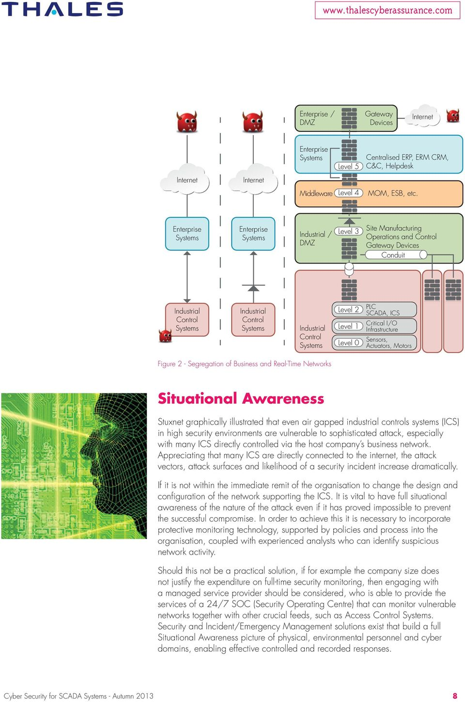 Control Systems Level 2 Level 1 Level 0 PLC SCADA, ICS Critical I/O Infrastructure Sensors, Actuators, Motors Figure 2 - Segregation of Business and Real-Time Networks Situational Awareness Stuxnet