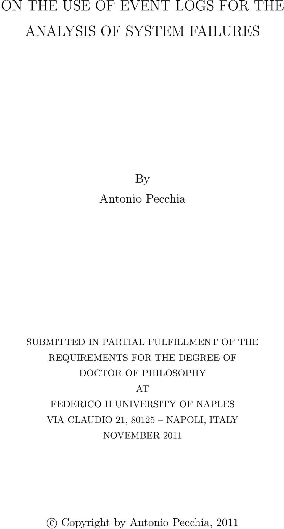 DEGREE OF DOCTOR OF PHILOSOPHY AT FEDERICO II UNIVERSITY OF NAPLES VIA