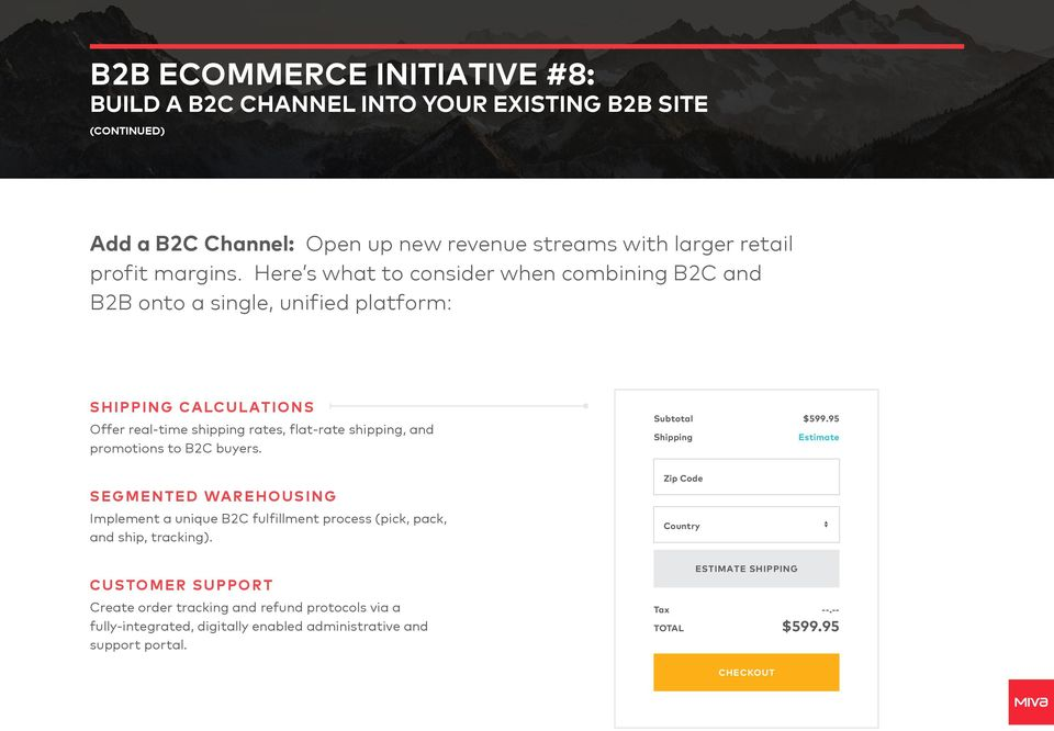 to B2C buyers. SEGMENTED WAREHOUSING Implement a unique B2C fulfillment process (pick, pack, and ship, tracking). Subtotal Shipping Zip Code Country $599.