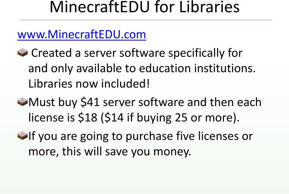 institutions. Libraries now included!