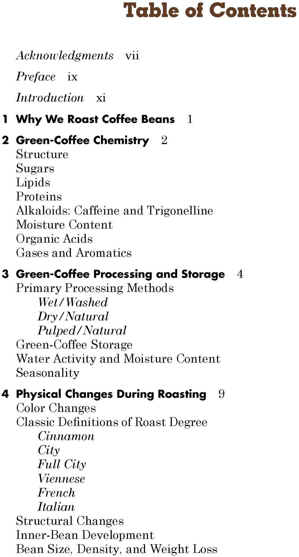Methods Wet/Washed Dry/Natural Pulped/Natural Green-Coffee Storage Water Activity and Moisture Content Seasonality 4 Physical Changes During Roasting 9 Color