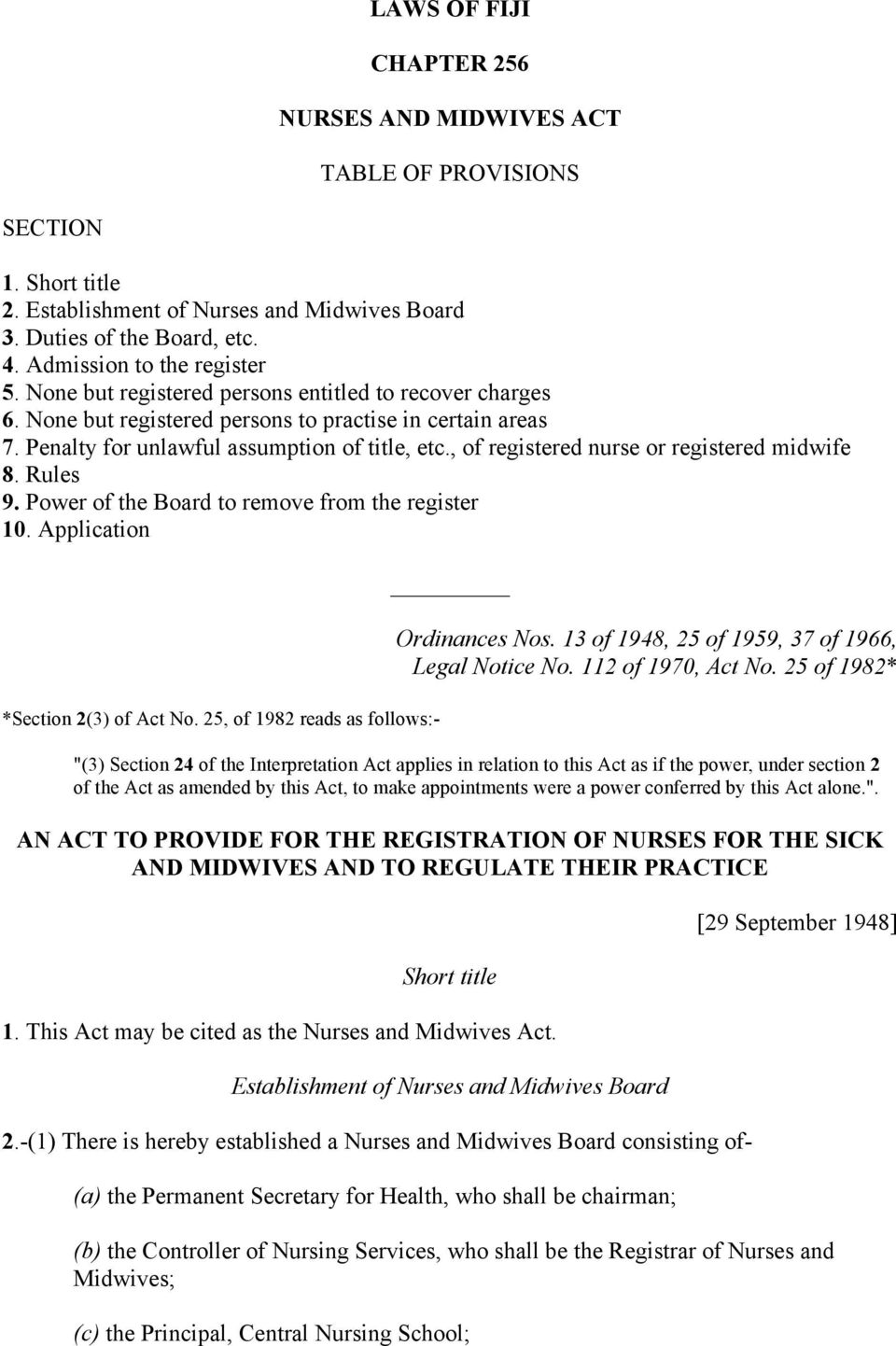 , of registered nurse or registered midwife 8. Rules 9. Power of the Board to remove from the register 10. Application *Section 2(3) of Act No. 25, of 1982 reads as follows:- Ordinances Nos.