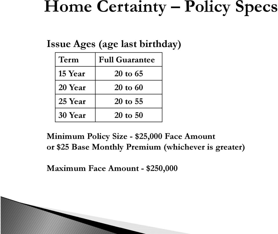 30 Year 20 to 50 Minimum Policy Size - $25,000 Face Amount or $25