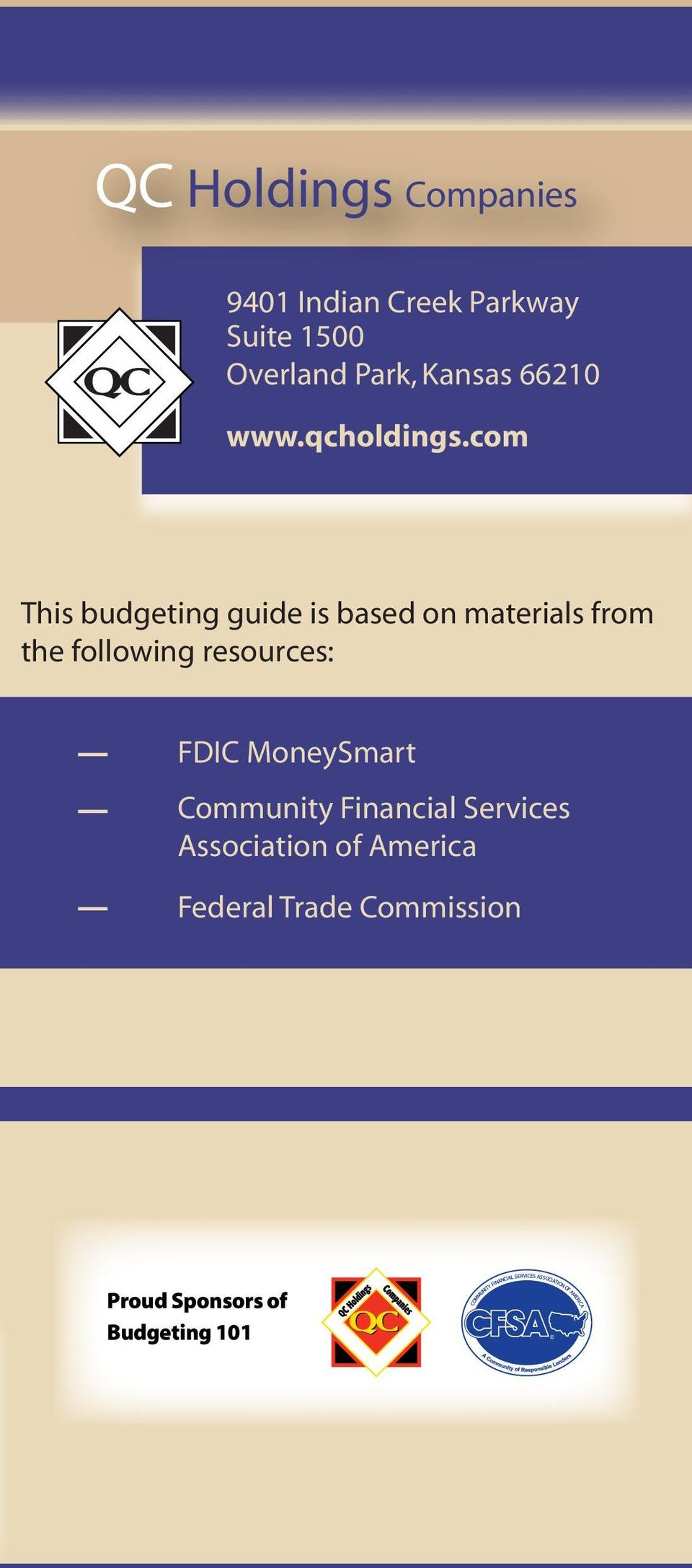 com This budgeting guide is based on materials from the following