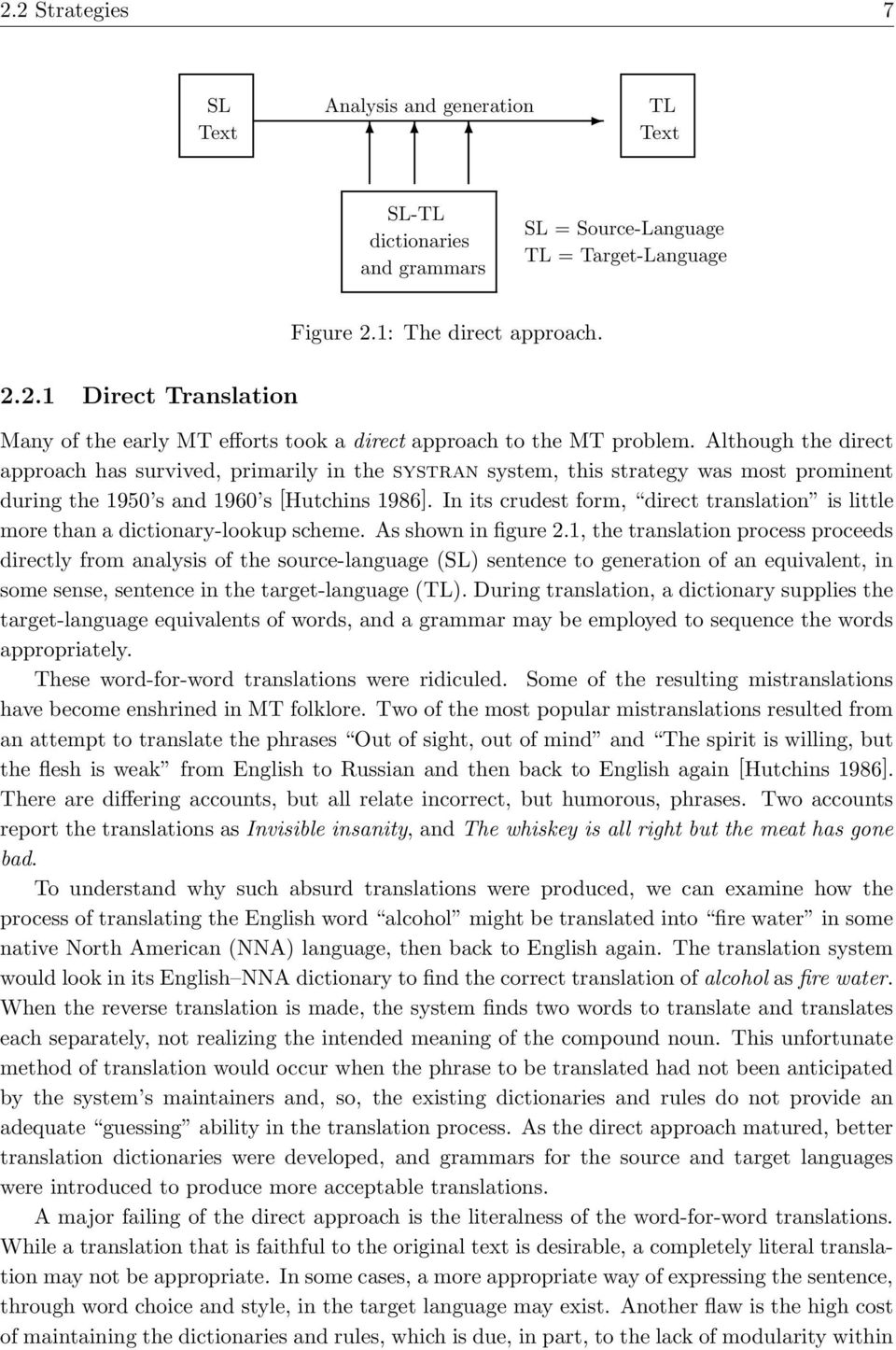 In its crudest form, direct translation is little more than a dictionary-lookup scheme. As shown in figure 2.