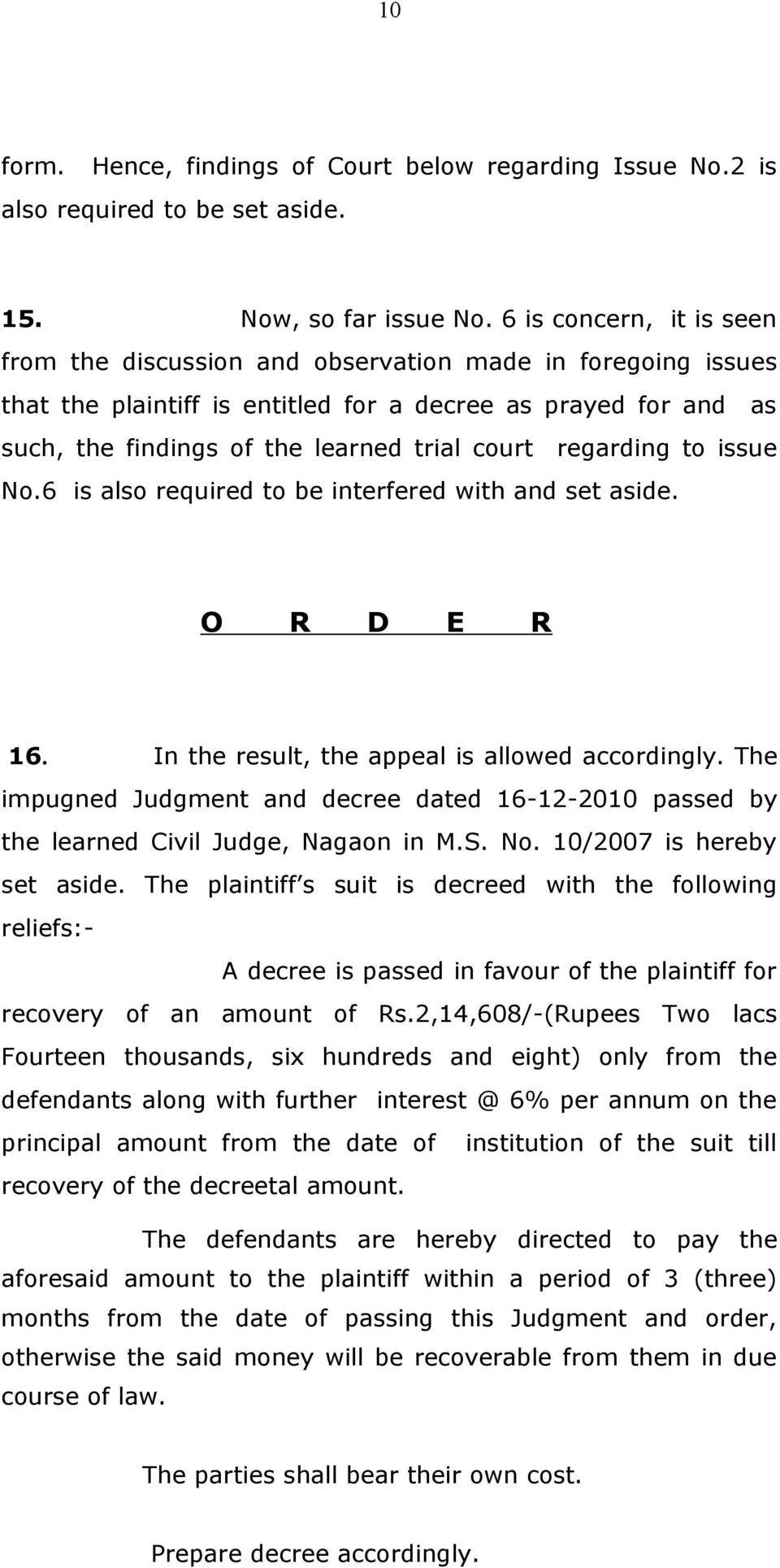 regarding to issue No.6 is also required to be interfered with and set aside. O R D E R 16. In the result, the appeal is allowed accordingly.