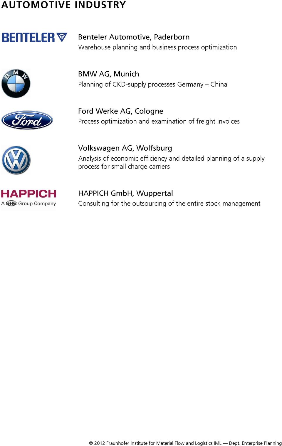 of freight invoices Volkswagen AG, Wolfsburg Analysis of economic efficiency and detailed planning of a supply