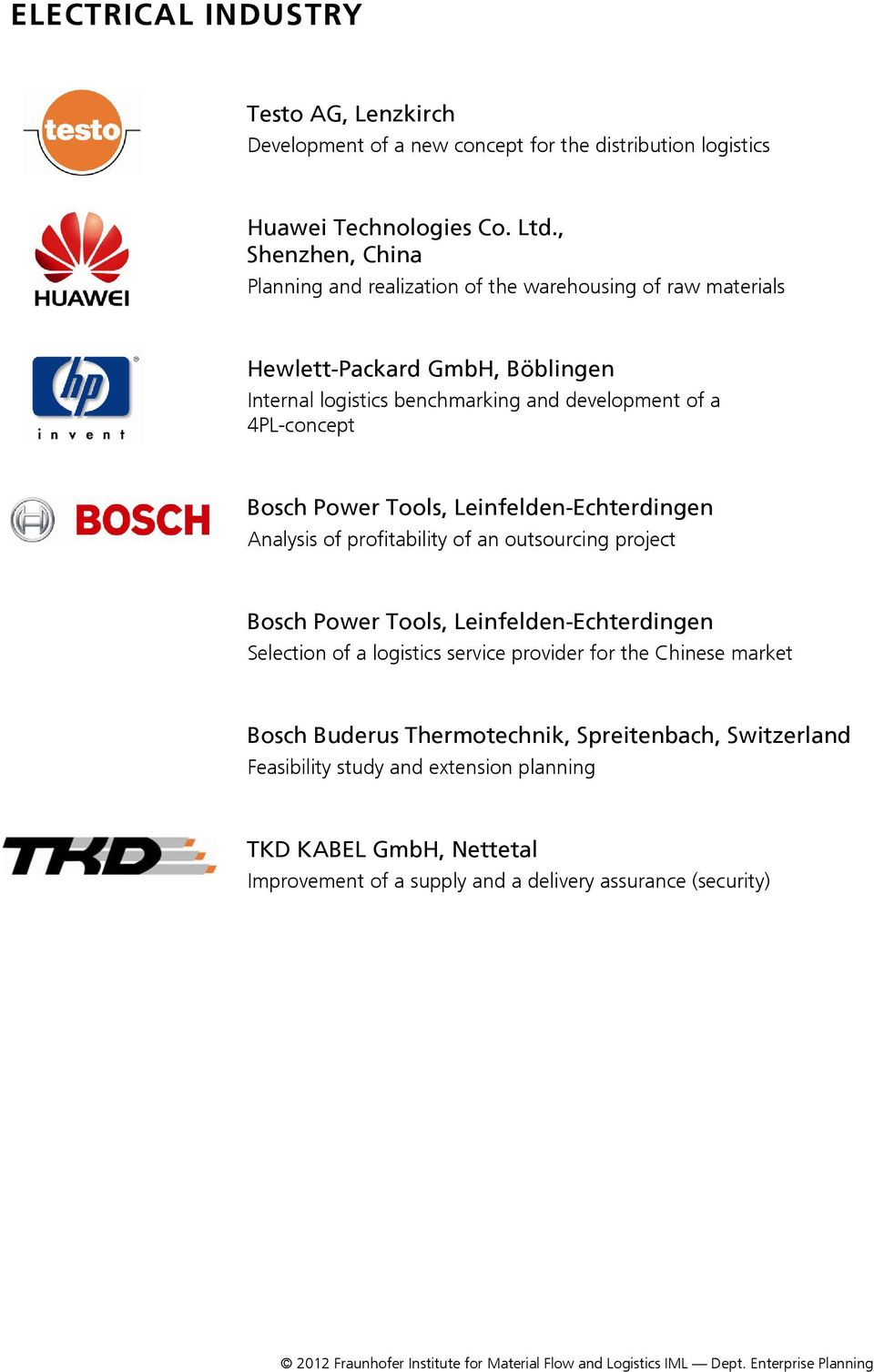 4PL-concept Bosch Power Tools, Leinfelden-Echterdingen Analysis of profitability of an outsourcing project Bosch Power Tools, Leinfelden-Echterdingen Selection of a