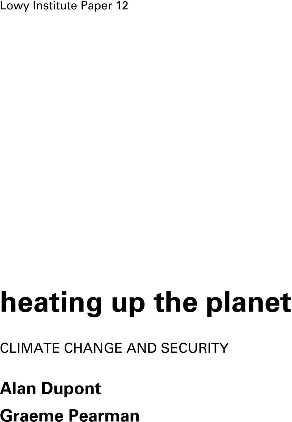 CLIMATE CHANGE AND