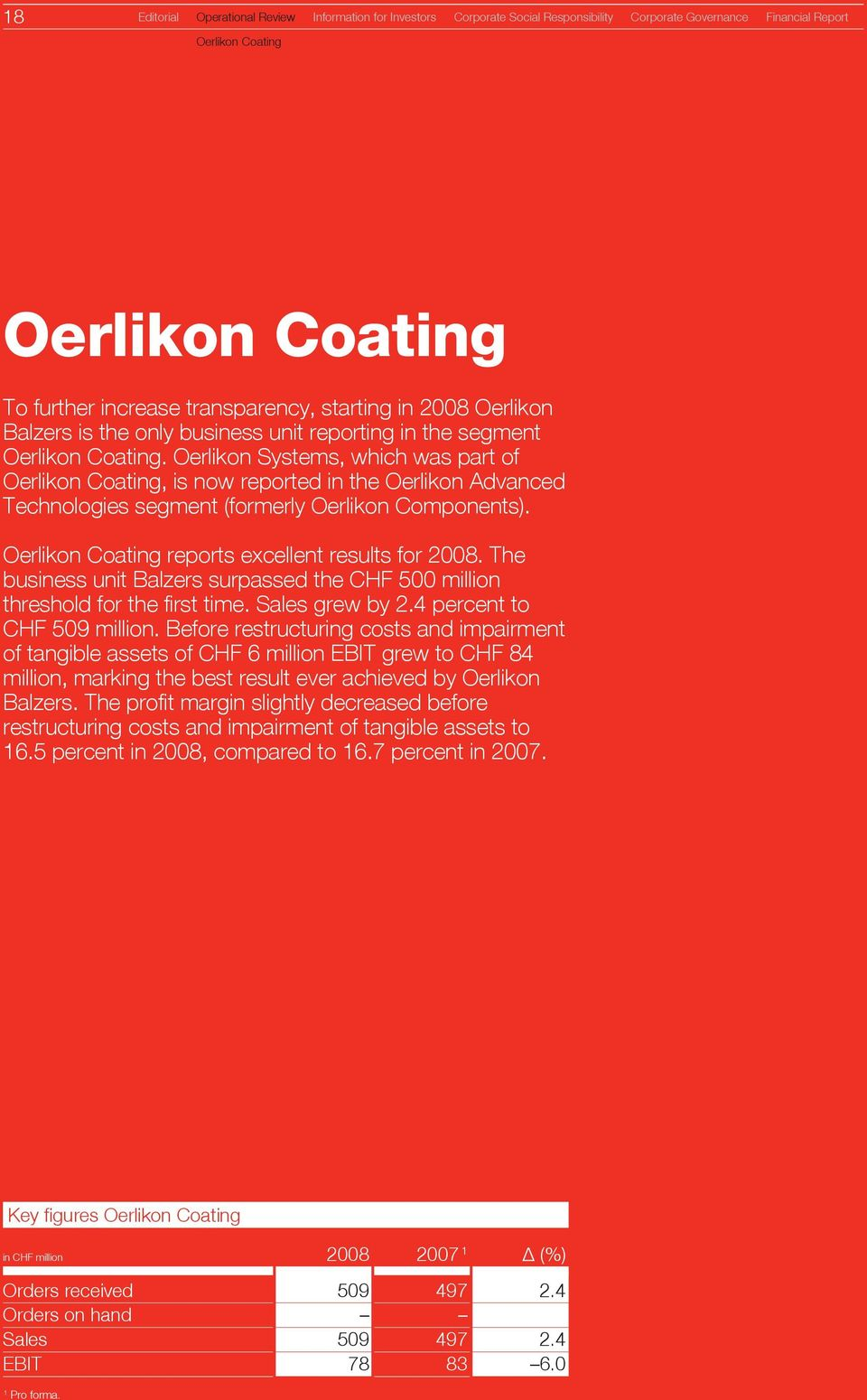 Oerlikon Systems, which was part of Oerlikon Coating, is now reported in the Oerlikon Advanced Technologies segment (formerly Oerlikon Components). Oerlikon Coating reports excellent results for 2008.
