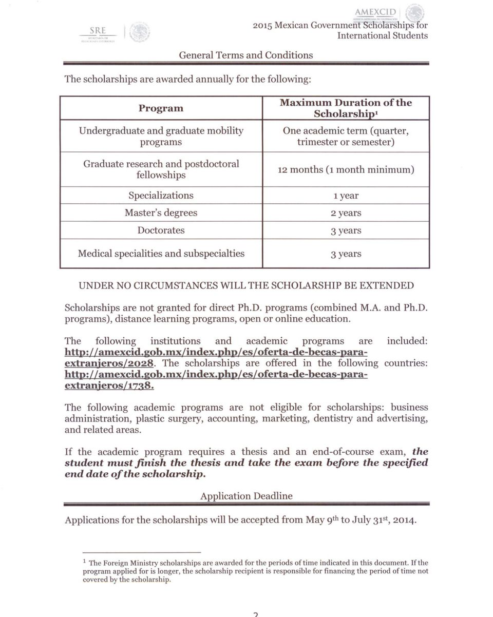 Scholarship1 Program 12 months years 3 (1 month years minimum) Specializations UNDER NO CIRCUMSTANCESWILL THE SCHOLARSHIPBE EXTENDED Scholarships are not granted for direct Ph.D. programs (combined M.