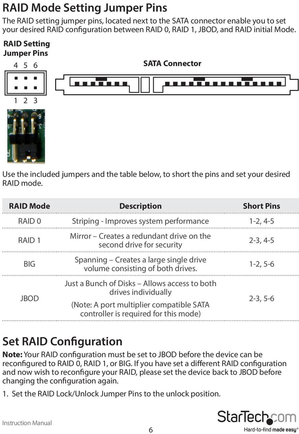 RAID Mode Description Short Pins RAID 0 Striping - Improves system performance 1-2, 4-5 RAID 1 BIG JBOD Mirror Creates a redundant drive on the second drive for security Spanning Creates a large