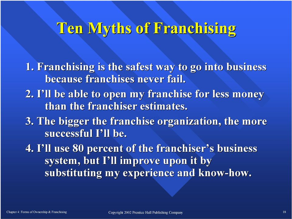 I ll be able to open my franchise for less money than the franchiser estimates. 3.