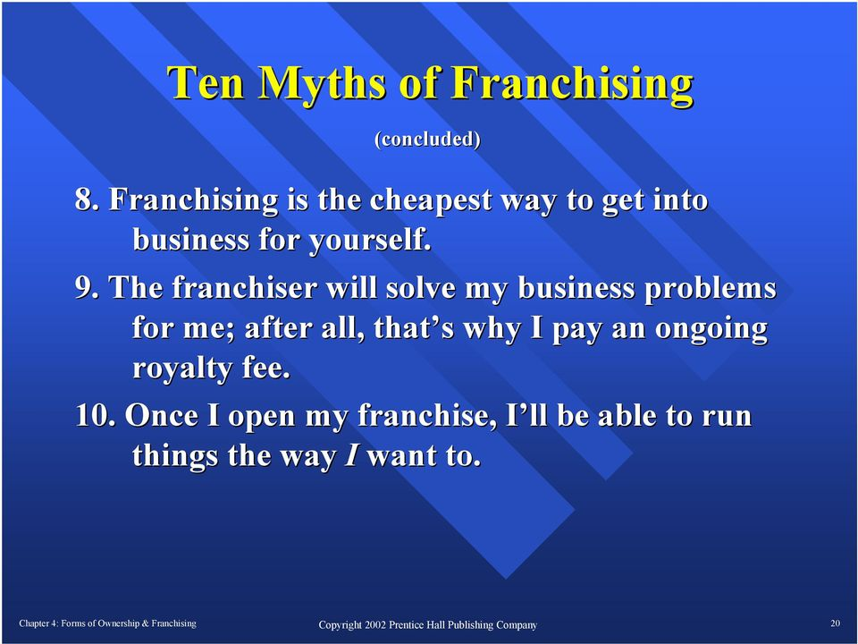 The franchiser will solve my business problems for me; after all, that s