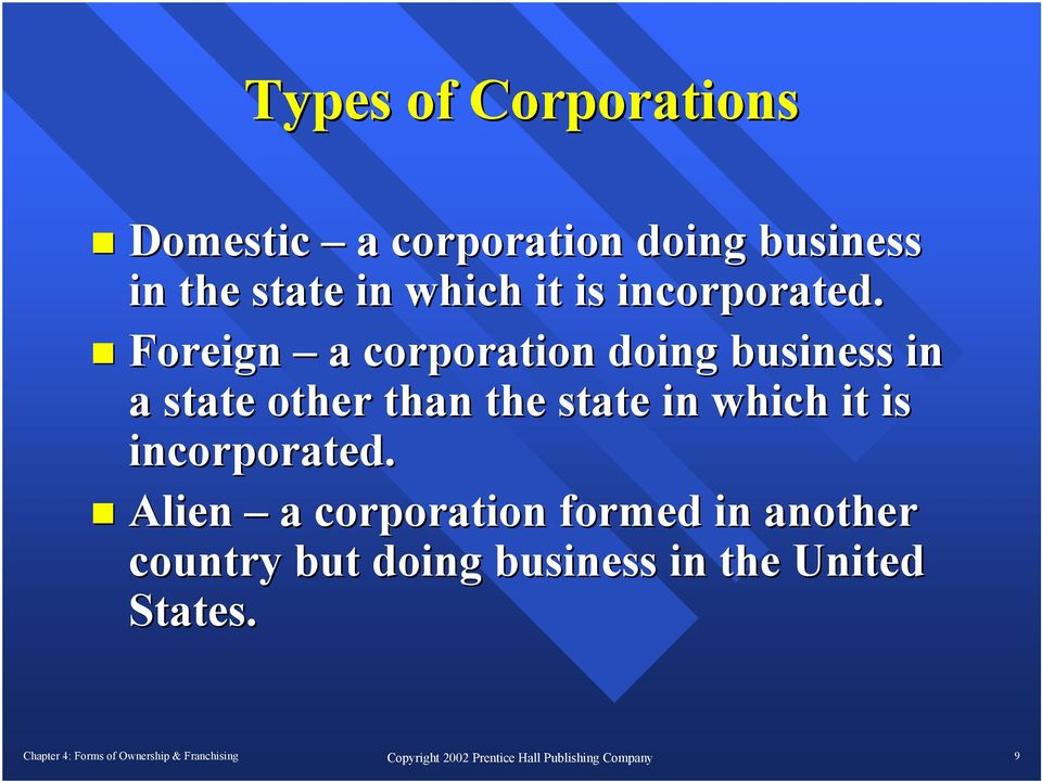 Foreign a corporation doing business in a state other than the  Alien a