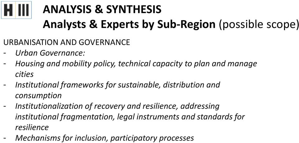 for sustainable, distribution and consumption - Institutionalization of recovery and resilience, addressing