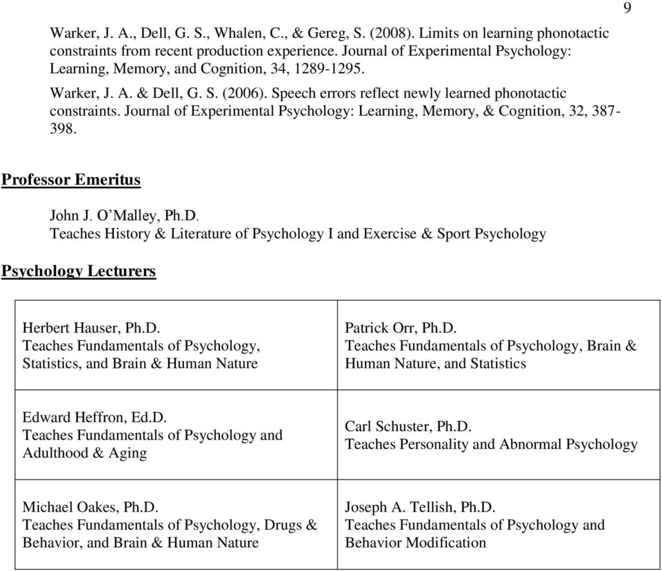 Journal of Experimental Psychology: Learning, Memory, & Cognition, 32, 387-398. 9 Professor Emeritus John J. O Malley, Ph.D.