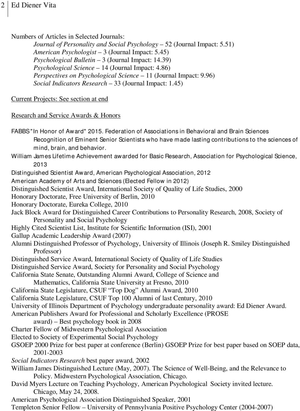 "96) Social Indicators Research 33 (Journal Impact: 1.45) Current Projects: See section at end Research and Service Awards & Honors FABBS ""In Honor of Award"" 2015."