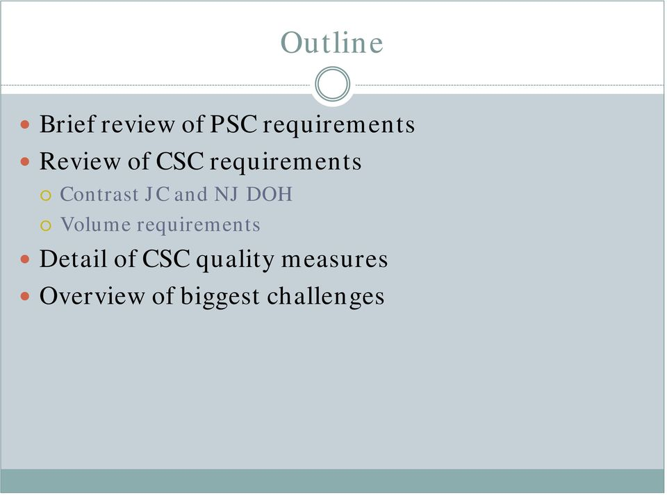 NJ DOH Volume requirements Detail of CSC