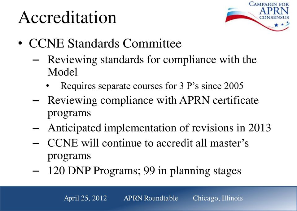 with APRN certificate programs Anticipated implementation of revisions in 2013