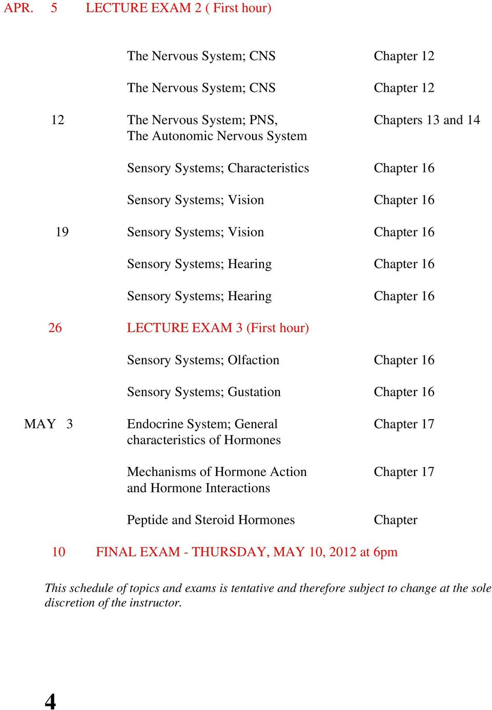 hour) Sensory Systems; Olfaction Chapter 16 Sensory Systems; Gustation Chapter 16 MAY 3 Endocrine System; General Chapter 17 characteristics of Hormones Mechanisms of Hormone Action Chapter 17 and