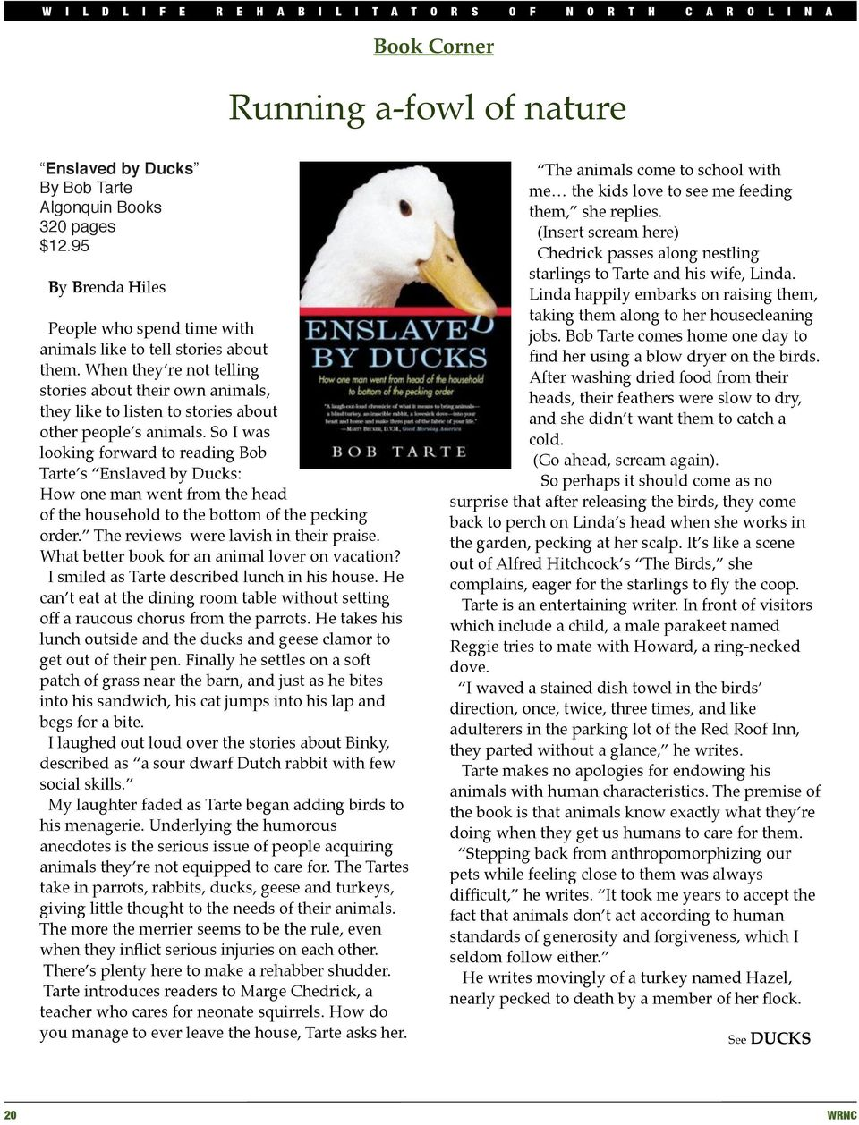 So I was looking forward to reading Bob Tarte s Enslaved by Ducks: How one man went from the head of the household to the bottom of the pecking order. The reviews! were lavish in their praise.
