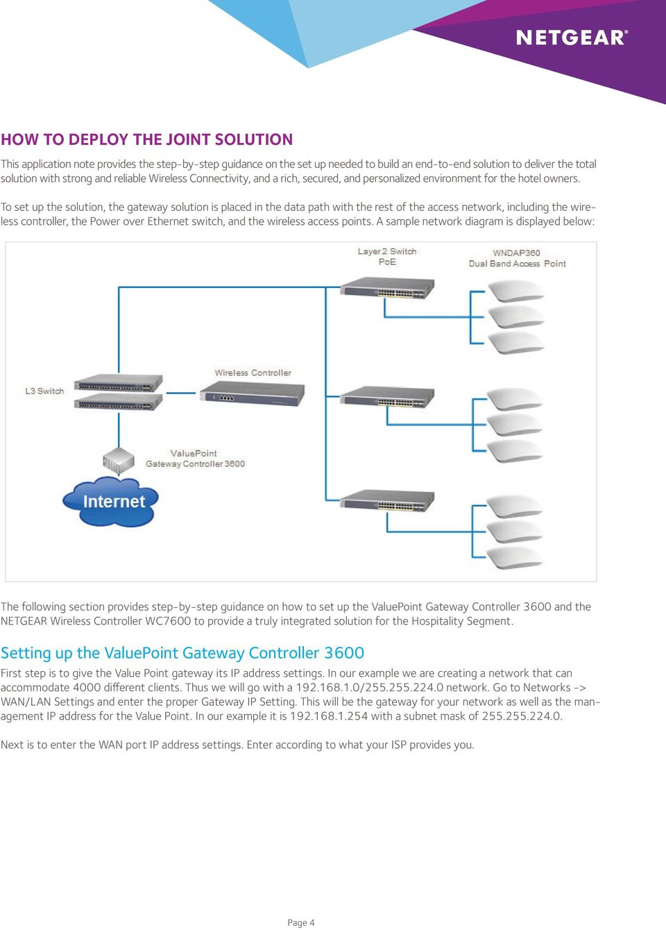 To set up the solution, the gateway solution is placed in the data path with the rest of the access network, including the wireless controller, the Power over Ethernet switch, and the wireless access