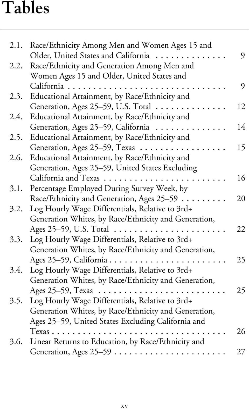 .. 15 2.6. Educational Attainment, by Race/Ethnicity and Generation, Ages 25 59, United States Excluding California and Texas... 16 3.1. Percentage Employed During Survey Week, by Race/Ethnicity and Generation, Ages 25 59.