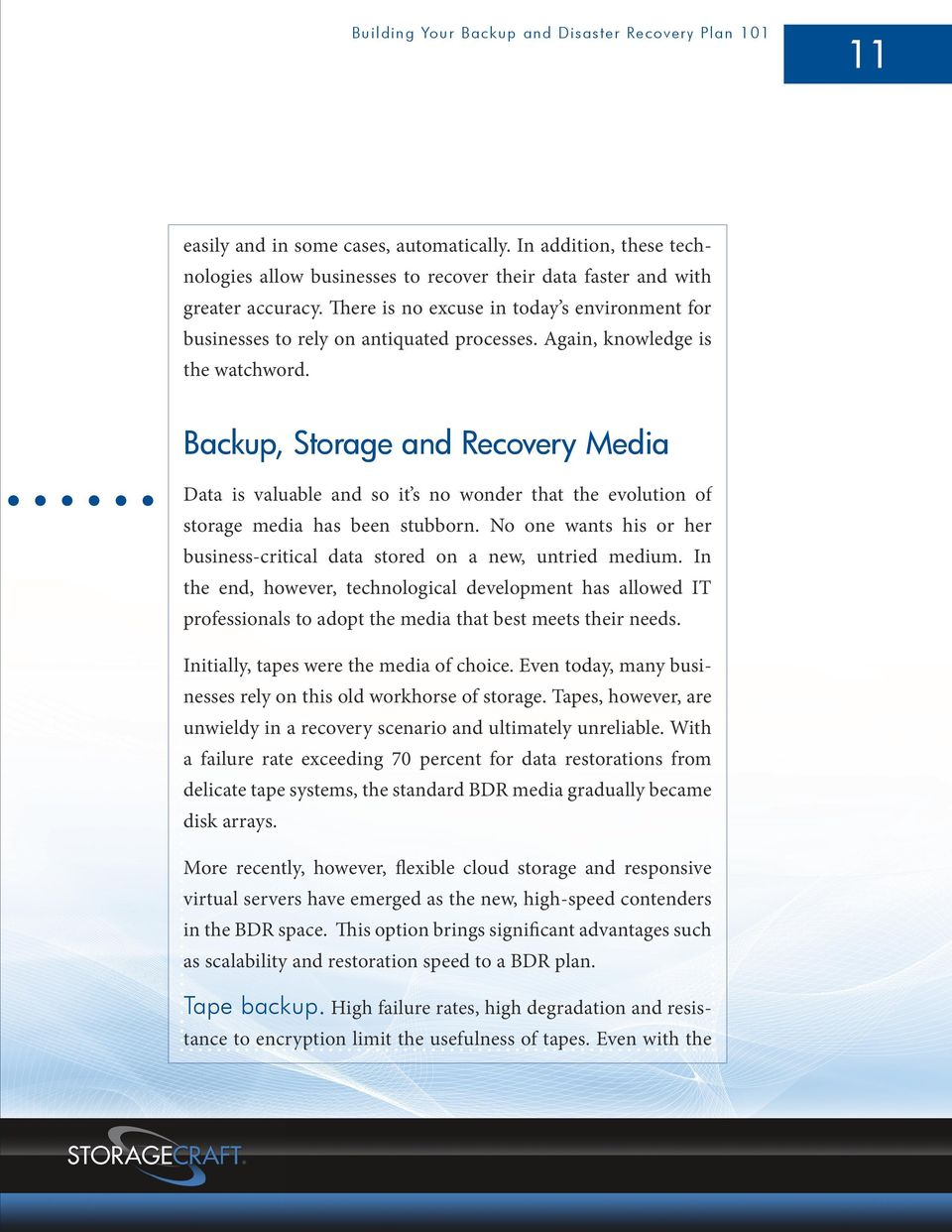 Backup, Storage and Recovery Media Data is valuable and so it s no wonder that the evolution of storage media has been stubborn.