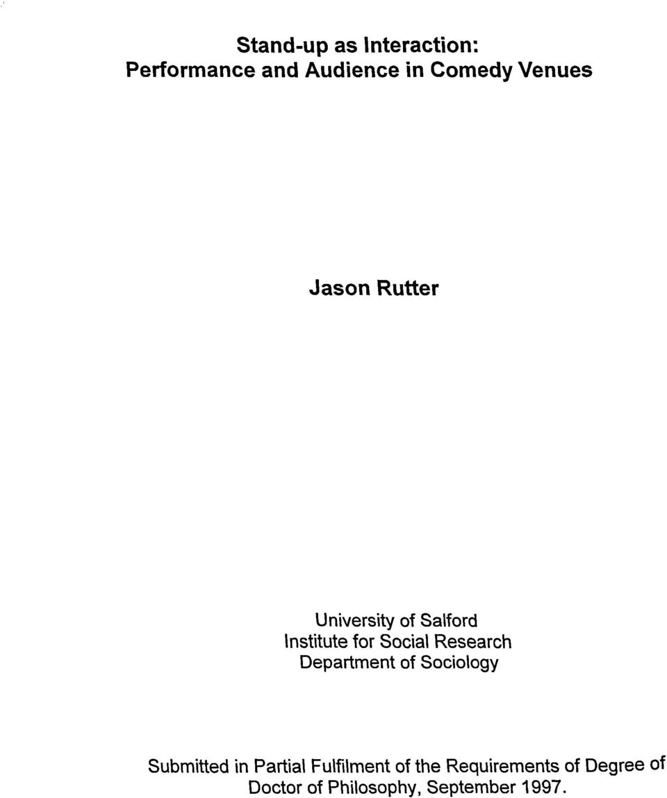 Research Department of Sociology Submitted in Partial Fulfilment